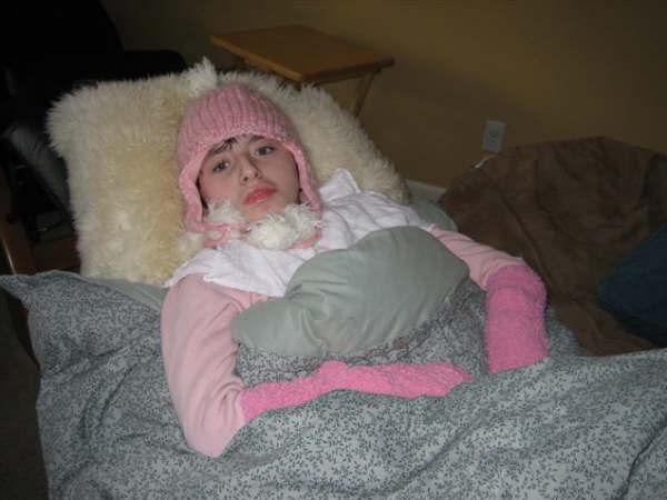 Ashley bundled up during Dec. 2006 power outage.JPG